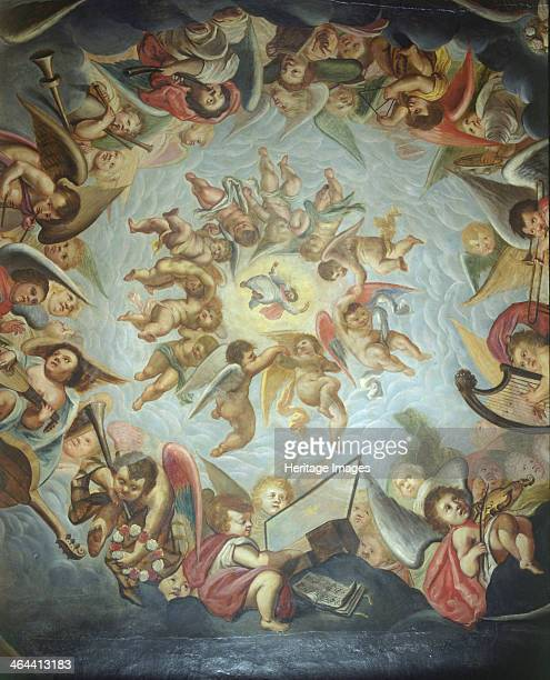 Ceiling of the Heaven Room Bolsover Castle Derbyshire 2000 The ceiling painted in 1619 shows Christ's ascension to heaven surrounded by angels Angels...