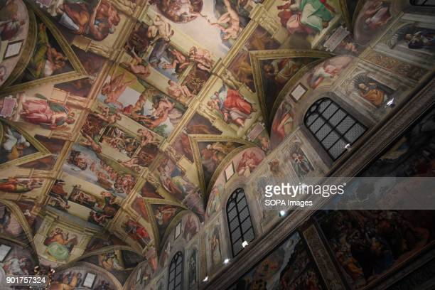 Ceiling painting art seen at the chapel The Replica of the Sistine Chapel An replica exact and actual size of the building located on the right side...