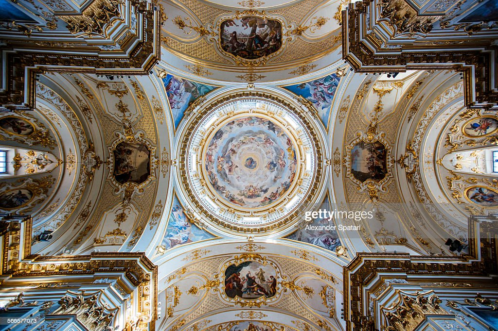 Ceiling Painting In Bergamo Cathedral Italy High-Res Stock ...