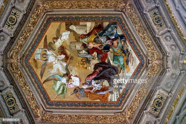 Ceiling paintings in Vatican museum Italy Ornate roof in the Maps Room at Vatican Museum in Rome Italy