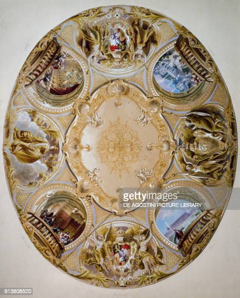 Ceiling project for a room of the Linderhof Castle by Christian Jank Germany 19th century