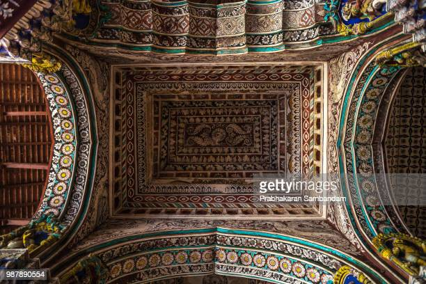 ceiling @ tanjor palace - place of worship stock pictures, royalty-free photos & images