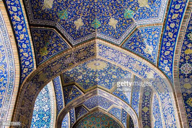 Ceiling view, The Shah Mosque at Naqhsh-e Jahan Square in Isfahan, Iran.