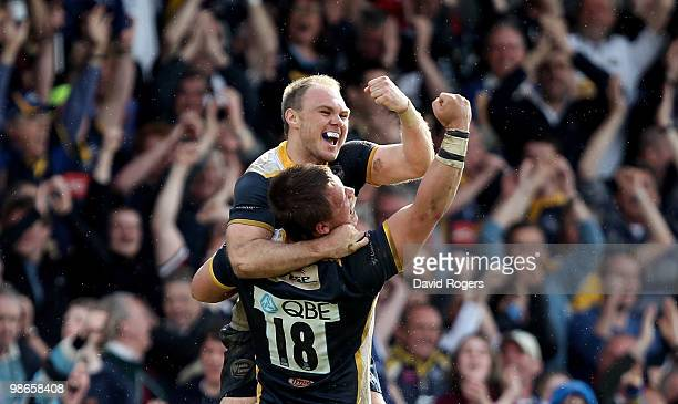 Ceiron Thomas the Leeds match winner is hoisted by team mate Phil Swainston after their victory in the Guinness Premiership match between Leeds...