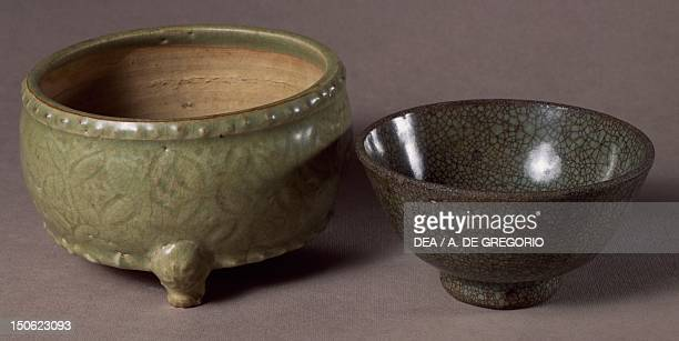 Celadon bulb carriers by ChiChou and celadon cup by ChiaoT'an China Chinese Civilisation Yuan Dynasty 13th14th century