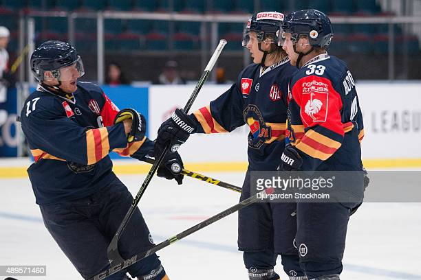 Celbrations after Djurgardes 1-0 goal by Marcus Sorensen in center during the Champions Hockey League round of thirty-two game between Djurgarden...