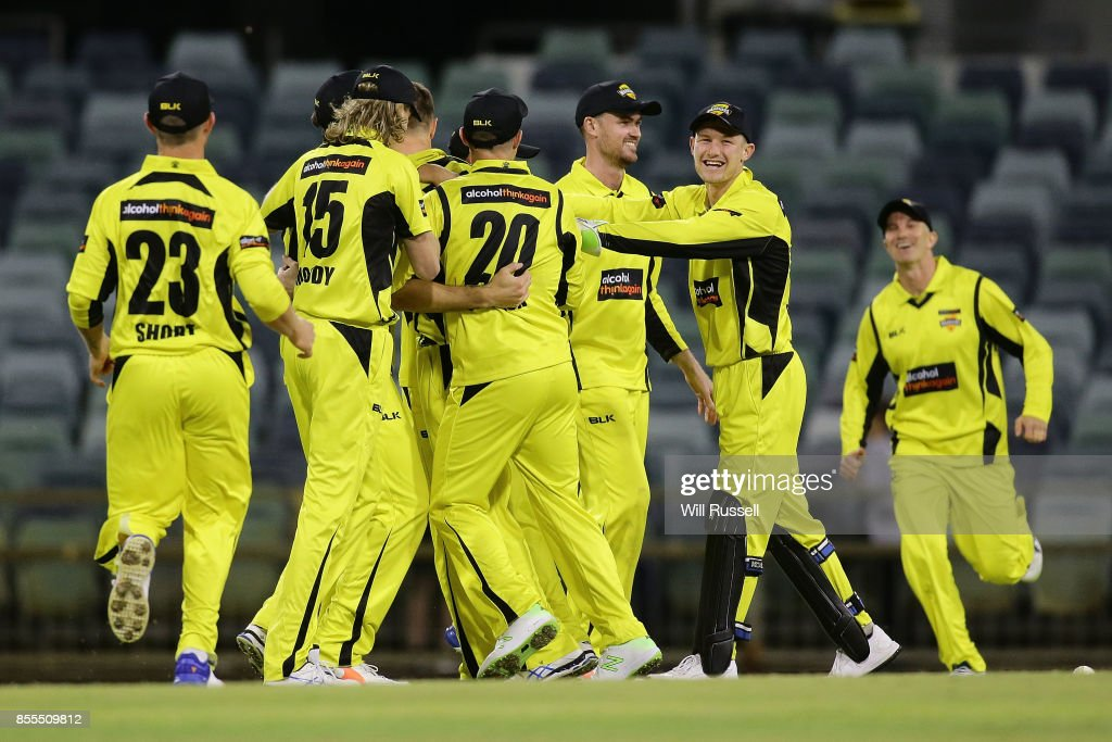 WA celebrate after defeating NSW during the JLT One Day Cup match between New South Wales and Western Australia at WACA on September 29, 2017 in Perth, Australia.