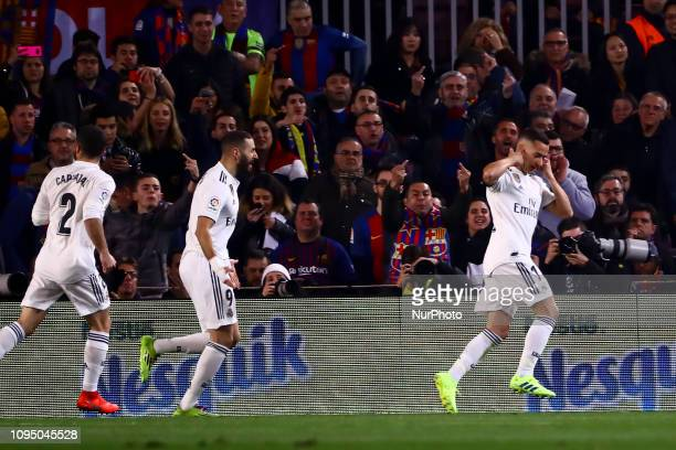 celebrate after scoring the 01 goal with his teammate CARVAJAL and KARIM BENZEMA during semifinal of spanish King Cup frist leg match between FC...