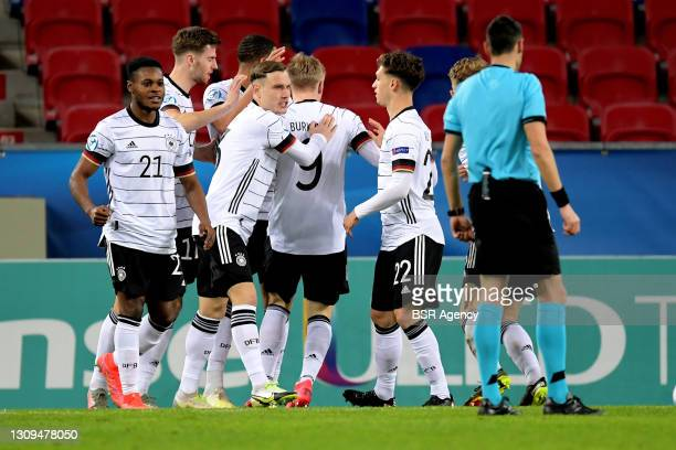 Celebrate Germany U21 during the UEFA Under 21 Euro Championship Group Stage match between Germany U21 and Netherlands U21 at Mol Arena Sosto on...