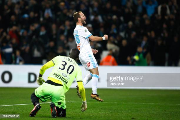 Celebrate goal Valere Germain of Marseille during the Ligue 1 match between Olympique Marseille and Troyes AC at Stade Velodrome on December 20 2017...