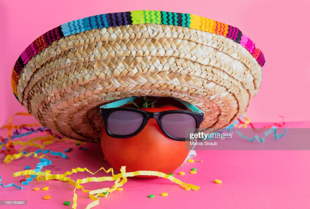 Celebrate Mexican Holiday Cinco de Mayo with Hot Tomato and Sombrero : Stock Photo