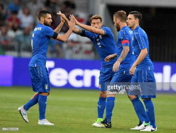 Celebrate of Italy during the International Friendly match between Italy and Uruguay at Allianz Riviera Stadium on June 7 2017 in Nice France