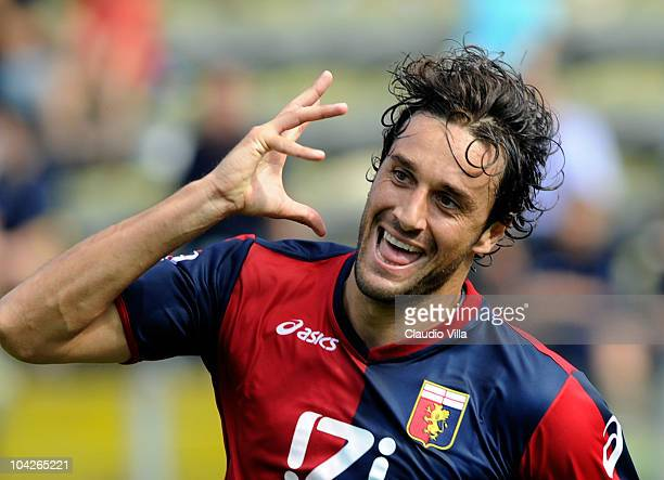 Celebrate of Luca Toni of Genoa CFC after the first goal during the Serie A match between Parma and Genoa at Stadio Ennio Tardini on September 19...