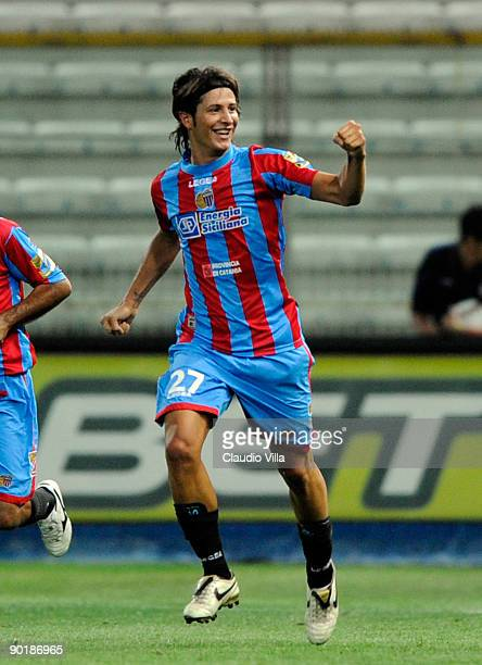 Celebrate of Marco Biagianti of Catania celebrates during the Serie A match between Parma and Catania Calcio at Stadio Ennio Tardini on August 30...