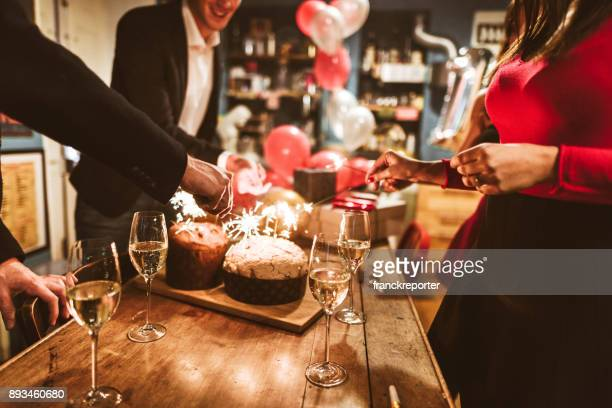 celebrate the christmas and new year  at home - christmas party stock photos and pictures