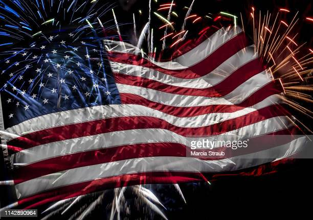 celebrate the fourth of july american flag fireworks - fourth of july stock pictures, royalty-free photos & images