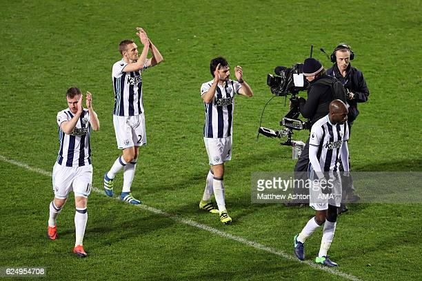 WBA celebrate the victory in front of the Sky TV cameras during the Premier League match between West Bromwich Albion and Burnley at The Hawthorns on...