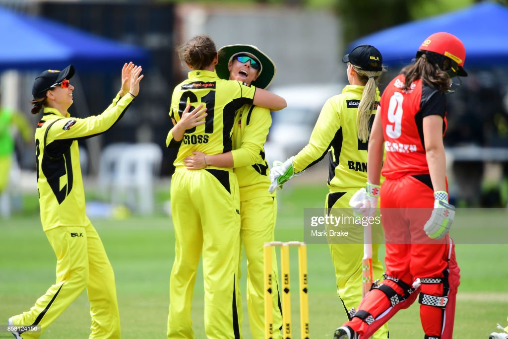 WA celebrate the wicket of Tahlia McGrath bowled by Kate Cross during the WNCL match between South Australia and Western Australia at Adelaide Oval No.2 on October 6, 2017 in Adelaide, Australia.