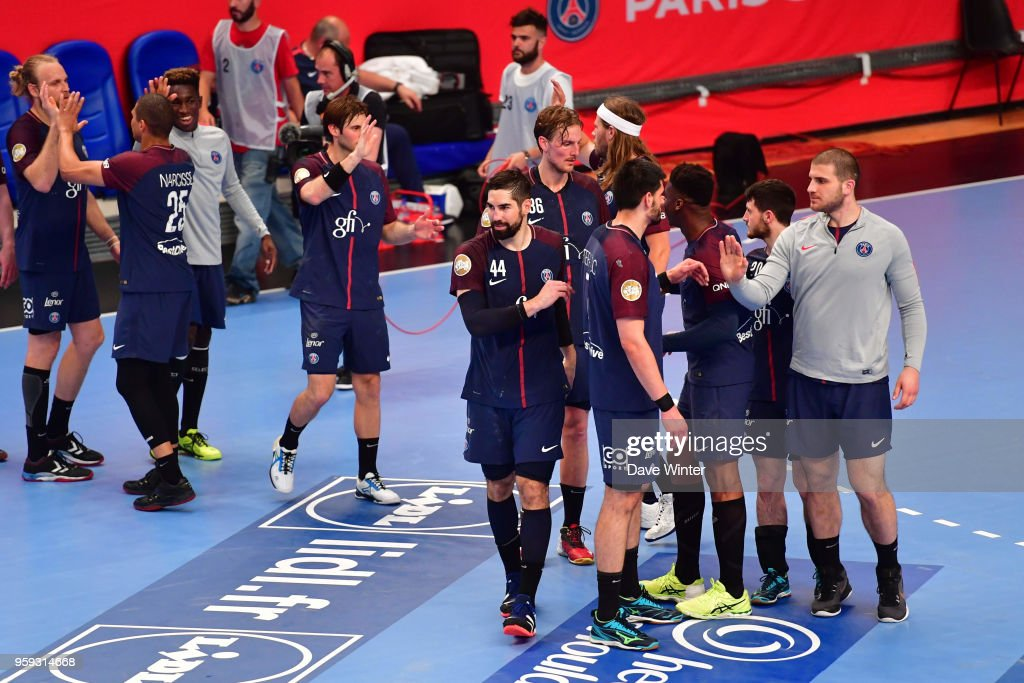 PSG celebrate winning the Lidl StarLigue match between Paris Saint Germain and Aix at Salle Pierre Coubertin on May 16, 2018 in Paris, France.