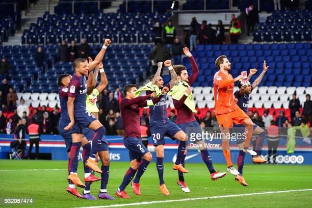 PSG celebrate winning the Ligue 1 match between Paris Saint Germain and Angers SCO on March 14 2018 in Paris France