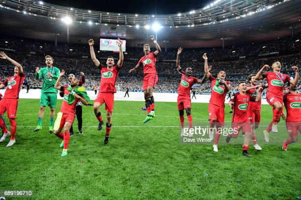 PSG celebrate winning the National Cup Final match between Angers SCO and Paris Saint Germain PSG at Stade de France on May 27 2017 in Paris France
