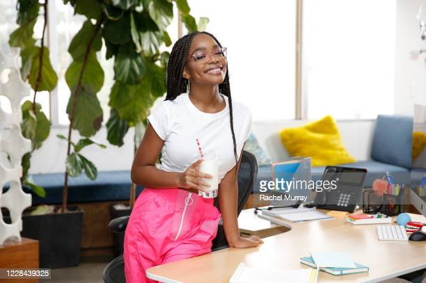 Celebrated actress TV/Film star and Hollywoods youngest executive producer Marsai Martin went behindthescenes with the creators of got milk to serve...