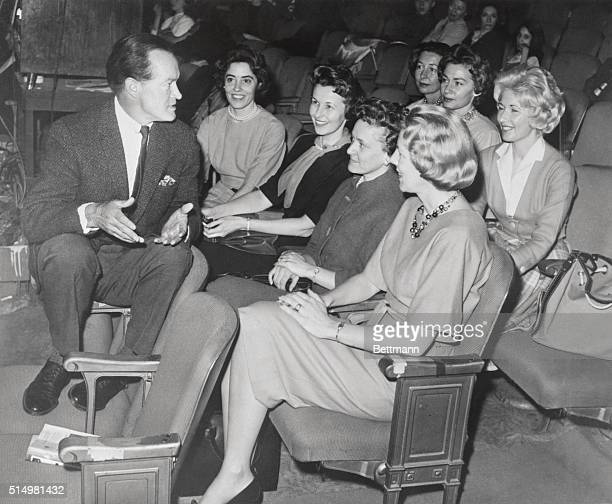 Celebrated comedian Bob Hope gets some inside information on space flight training from the wives of astronauts during a rehearsal for a special TV...