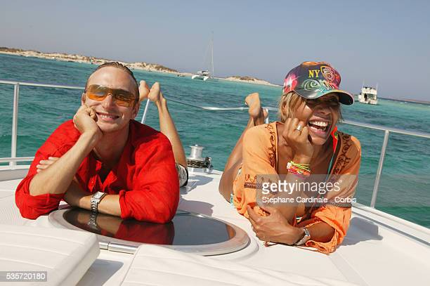 Celebrated King and Queen of the Parisian club scene Cathy Guetta and David Guetta take time out between partying on Ibiza