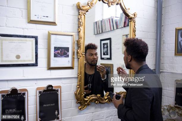 Celebrated South African fashion designer David Tlale in his studio in Maboneng district on March 16 2016 in downtown Johannesburg South Africa A...