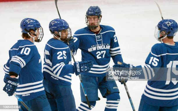 UNE celebrates a goal against USM Saturday November 24 2018 L to R are Jimmy Elser Aaron Aragon Alden Weller and Austin Morgan