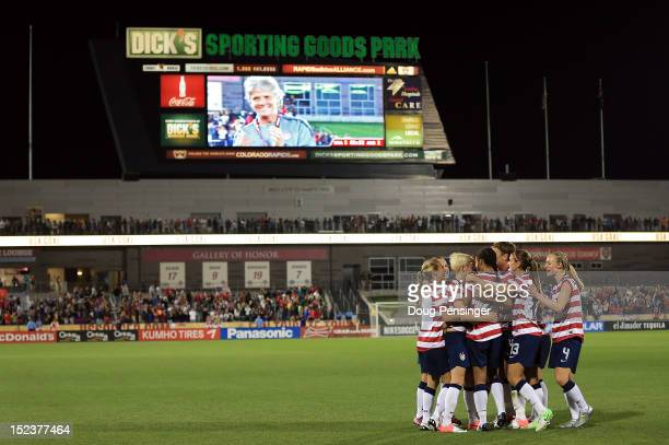 USA celebrates a goal by Shannon Boxx of the USA in the 69th minute against Australia as USA head coach Pia Sundhage is seen on the jumbotron at...