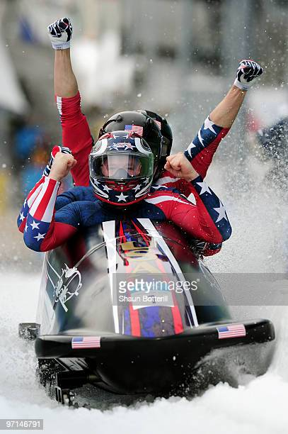USA 1 celebrates after winning the gold medal during the men's four man bobsleigh on day 16 of the 2010 Vancouver Winter Olympics at the Whistler...