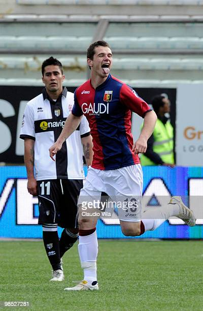 Celebrates of Ivan Fatic of Genoa CFC after the third goal during the Serie A match between Parma FC and Genoa CFC at Stadio Ennio Tardini on April...