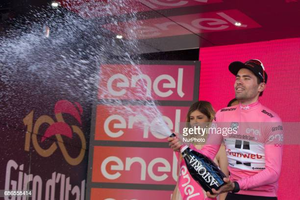 DUMOULIN celebrates on the podium with his pink jersey at the end of the 15th stage of the 100th Giro d'Italia 21 May 100th Tour of Italy 2017 /...