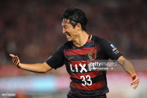 Celebrates scoring his side's first goal during during the J.League J1 match between Kashima Antlers and Omiya Ardija at Kashima Soccer Stadium on...