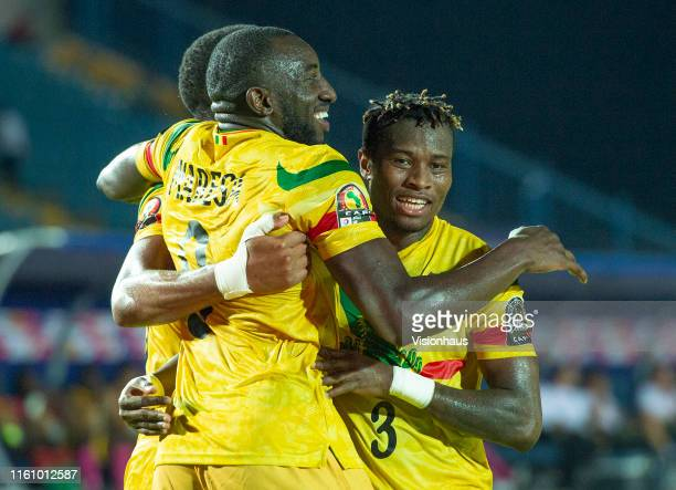 celebrates scoring Mali's second goal during the 2019 Africa Cup of Nations Group E match between Mali and Mauritania at Suez Stadium on June 24 2019...
