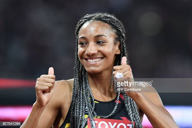 Celebrates taking gold in the heptathlon after the 800m of the women's heptathlon athletics event at the 2017 IAAF World Championships at the London...