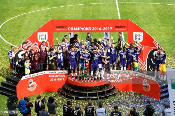 celebrates winning the Championship after the Jupiler Pro League play off 1 match between RSC Anderlecht and Kv Oostende on May 21 2017 in Brussels...