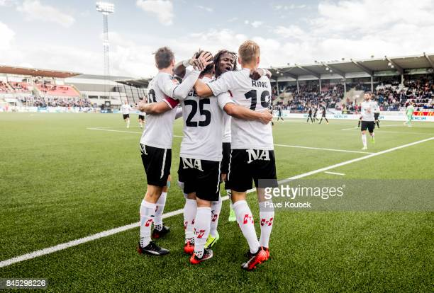 Celebrates with teammates after scoring the decisive goal during the Allsvenskan match between Orebro SK and Malmo FF at Behrn Arena on September 10,...
