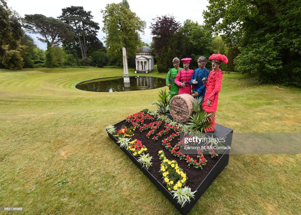 Celebrating 50 years since The Beatles released Sgt Pepper's Lonely Hearts Club, a living installation will recreate the artwork from the infamous cover at Chiswick House And Gardens on May 19, 2017 in London, England.