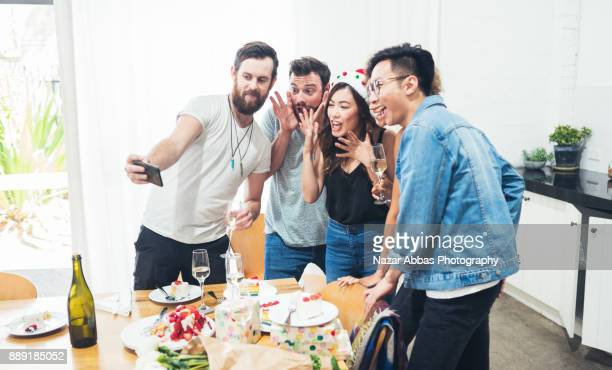 celebrating birthday party. - aperitif stock photos and pictures