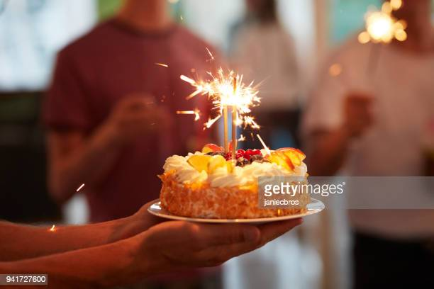 celebrating birthday. summer garden party - birthday cake stock pictures, royalty-free photos & images