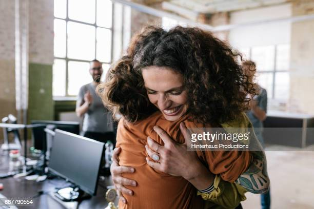celebrating co-workers - coworker stock pictures, royalty-free photos & images