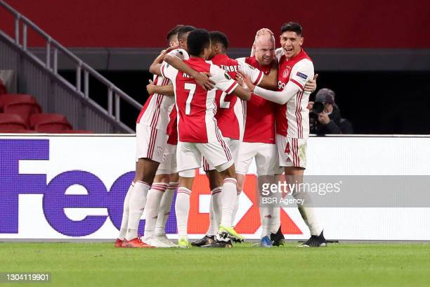Celebrating David Neres of Ajax, Jurrien Timber of Ajax, Davy Klaassen of Ajax, Edson Alvarez of Ajax during the UEFA Europa League match between...