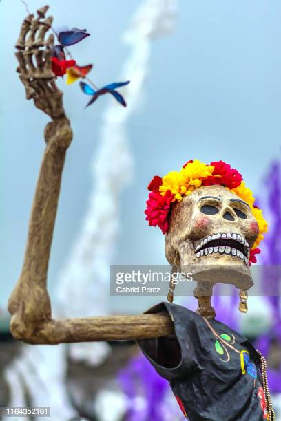 celebrating day of the dead in mexico city - religious celebration stock pictures, royalty-free photos & images
