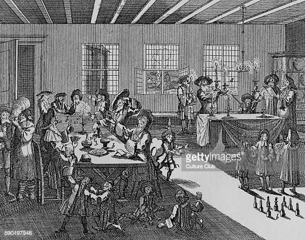 Celebrating festival of Purim Children playing gamesGiving money to Purim spielers Illustration by Krichner Nurnberg 1734 Caption reads Fastnacht...