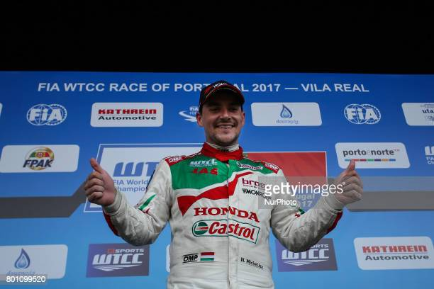 Celebrating first place during Podium ceremony of the Race 2 of FIA WTCC 2017 World Touring Car Championship Race of Portugal, Vila Real, June 25,...