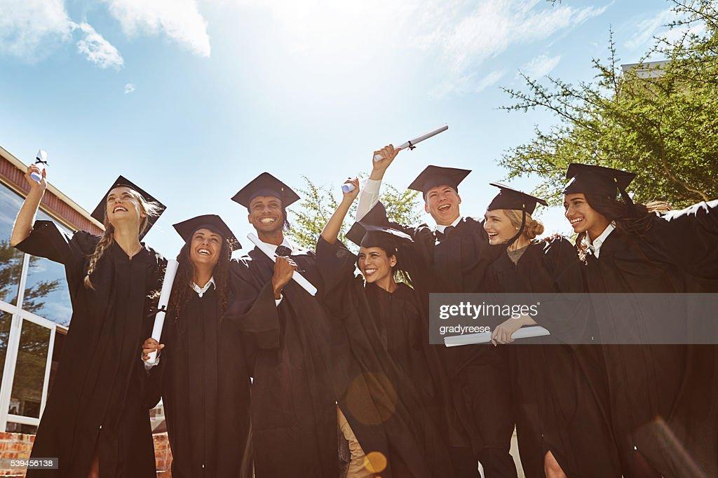 Wir feiern Abschlussfeier : Stock-Foto