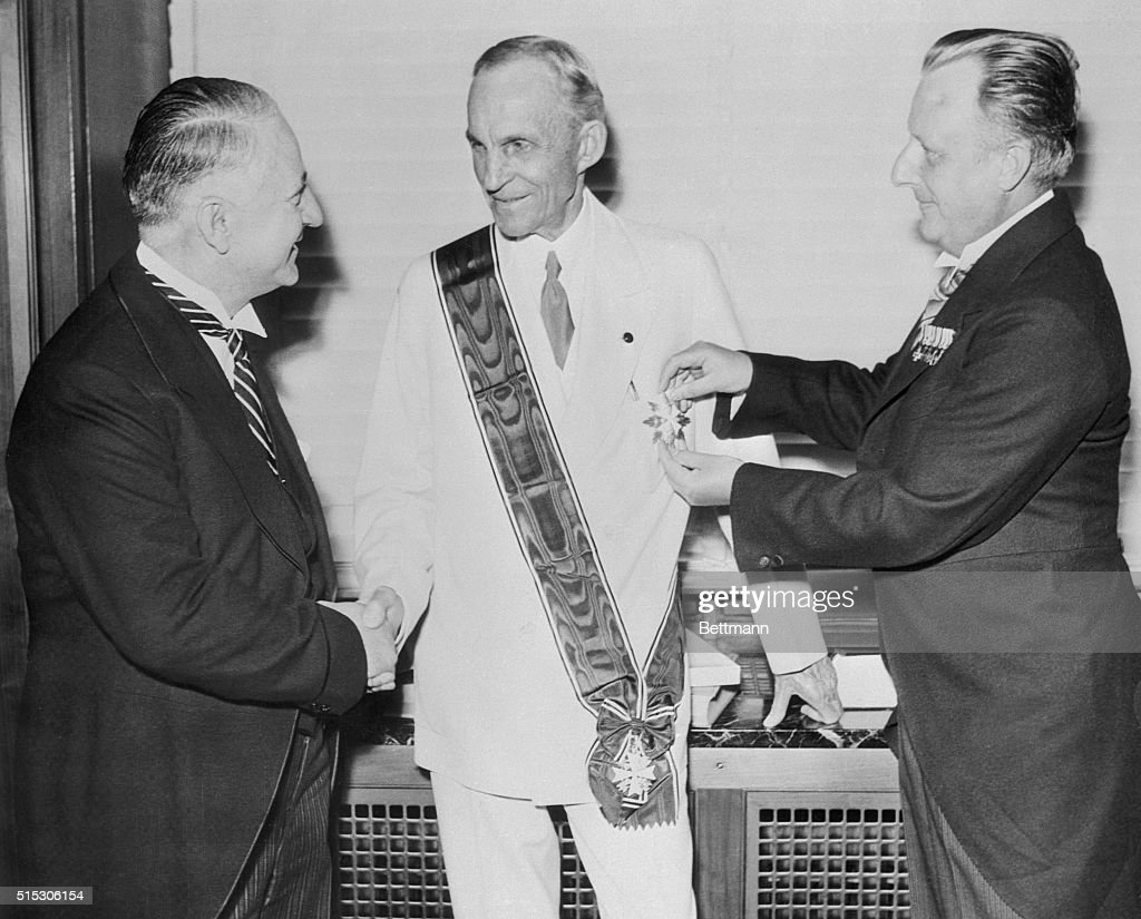 Henry Ford Receiving German Award : News Photo
