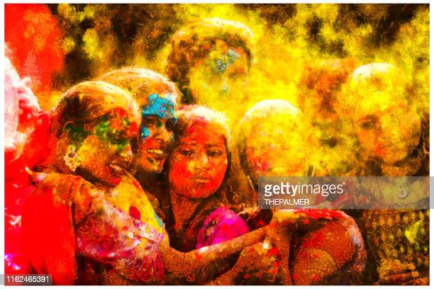 celebrating holi in india - mixed digital technique - digital enhancement stock pictures, royalty-free photos & images